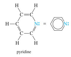 Draw the structure of pyridine.