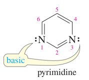 Draw the structure of pyrimidine.