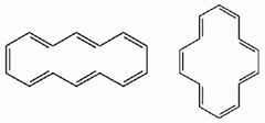 Give BOTH names of the cyclic polyene shown in its two most common conformations.