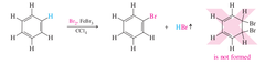 Important:  * IDENTIFICATION method; causes decolorization, but SLOWLY * SUBSTITUTION not addition * all THREE double bonds are retained * only works with BROMINE