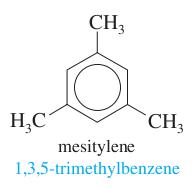 three methyls + benzene